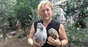 Hayvanlarına kavuşan Nuray hanımın mutluluğu gözlerine yansımış