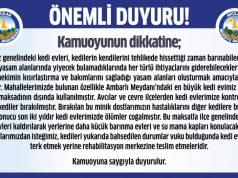 Avcılar belediyesi tarafından yayınlanan duyuru