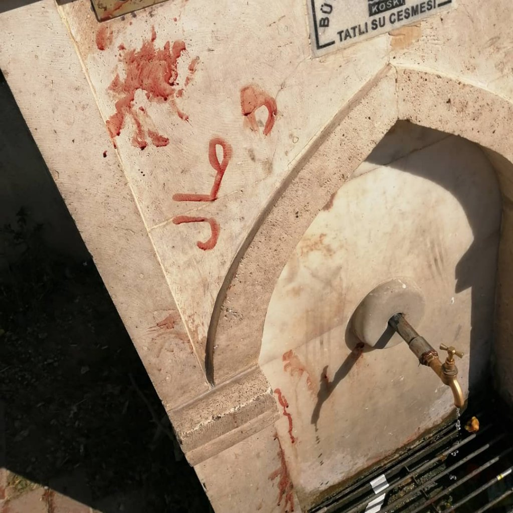 işkence ettikleri kedinin kanıyla çeşmeye yazı yazmışlar